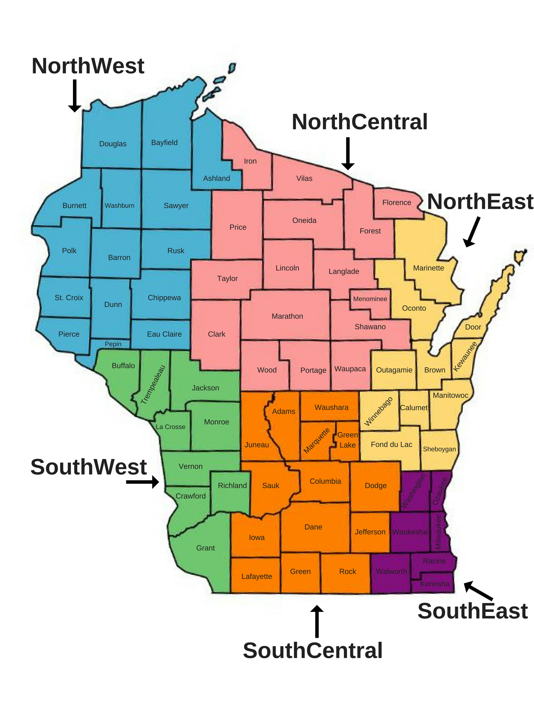 Wisconsin County Map with Districts